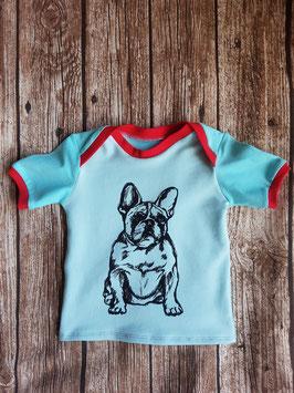 Baby Shirt mit kurzen Armen Französische Bulldogge Türkis