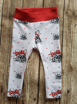Baby-Leggings Französische Bulldogge Schleife/Rot