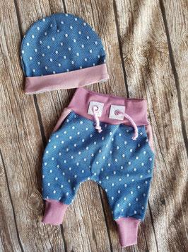Baggy Pants & Babymütze Jeans Dots Rosa
