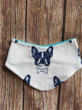 Halstuch Französische Bulldogge Weiß One Size