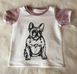 Baby Shirt mit kurzen Armen Französische Bulldogge Rosa Stripes