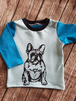 Baby Shirt mit langen Armen Französische Bulldogge Türkis