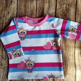 Baby Shirt mit langen Armen Eulen Rosa
