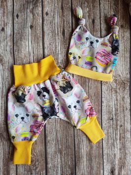 Pumphose & Babymütze Knot Hat bunte Französische Bulldoggen Gelb