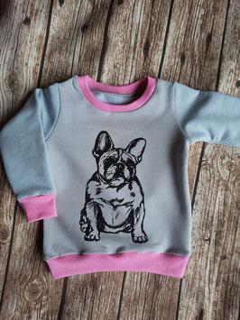 Raglan Sweater Französische Bulldogge Grau