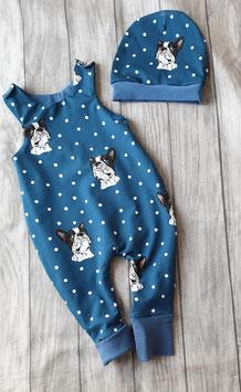 Strampler und Mütze Französische Bulldogge Bruno blau