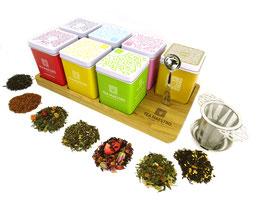 Dutch Tea Maestro Serveer- & Bewaarplateau Prefix Blends (7-vakken) Inclusief thee + lepel