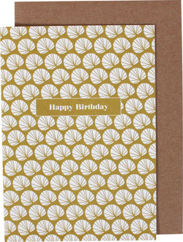 Greeting Card Palm Leaves, ocre/white - Happy Birthday