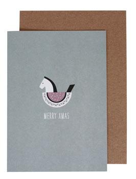 Christmas Card Rocking Horse, blue/grey - Merry Xmas