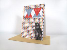 """Christmas Card Owl - """"Merry X"""""""