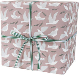 Wrapping Paper Pigeons, white / rose background (3 sheets)