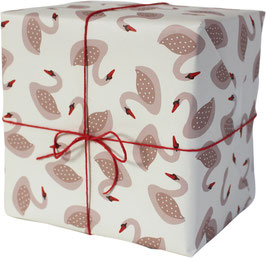 "Wrapping Paper ""Swans"", rose / white background (3 sheets)"