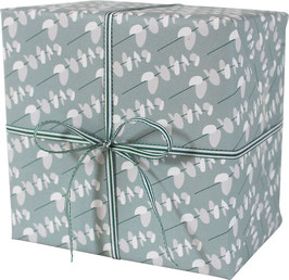 Wrapping Paper Little Leaves, light blue / grey (3 sheets)