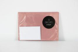 """Envelopes """"Squared"""", salmon/white (set of 10)"""