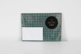"""Envelopes """"Squared"""", sea green/white (set of 10)"""