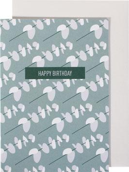 Greeting Card Little Leafs, light blue / light grey - Happy Birthday