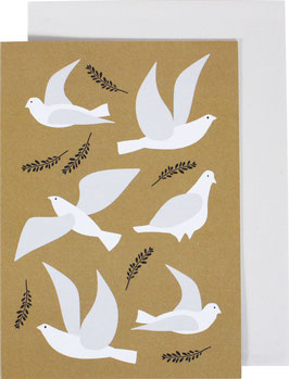 Greeting Card Pigeons, gold (without text)