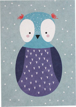"""Postcard """"Owl"""", purple (without text)"""