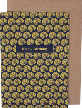 Greeting Card Palm Leaves, ocre/blue - Happy Birthday