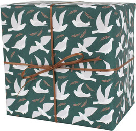 """Wrapping Paper """"Pigeons"""", sea green / white (3 sheets)"""