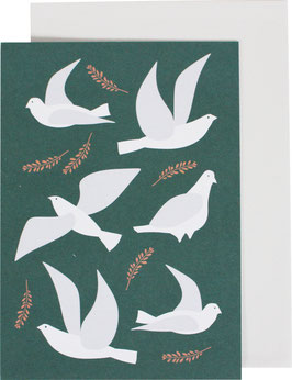 Greeting Card Pigeons, sea green (without text)