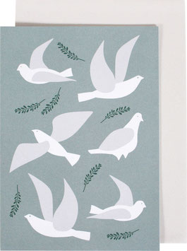 Greeting Card Pigeons, light blue (without text)