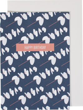 Greeting Card Little Leaves, blue/white - Happy Birthday