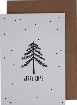 Christmas Card with black fir tree and little dots - Merry Xmas