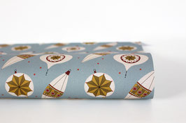 "Christmas Wrapping Paper ""Bauble01"", blue (3 sheets)"