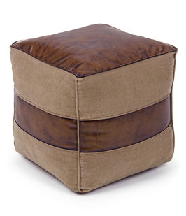 Bizzotto - Pouf - Charleston - Leder - Braun
