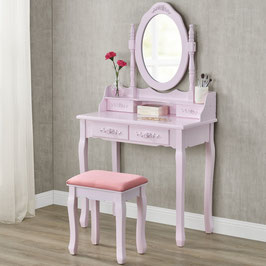 Schminktisch - Rosa mit Spiegel und Hocker - rosa