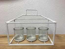 Laterne - Shabby Chic - Metall - 3 Gläser - Weiss