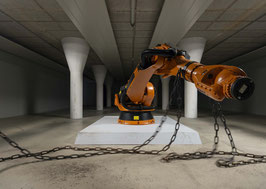 Limited edition C-print Mad King in chains installation