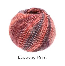 Ecopuno Print Farbe 203 Orange/Weinrot/Brombeer/Aubergine/Rostrot, Edles Garn aus Baumwolle mit Merino und Alpaka