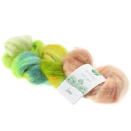 Silkhair Hand-Dyed  Farbe   606, Lassi - Limette/Gelb/Petrol/Beige, Feines Lace-Garn aus Superkid Mohair mit Seide, handgefärbt