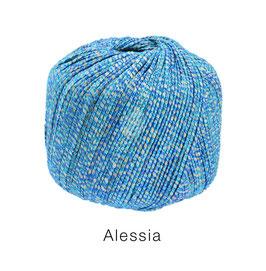 ALESSIA  Farbe 15, Blau/Türkis/Silbergrau, Baumwoll-Bändchengarn umwickelt mit feinen Glanzfäden