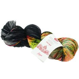 Meilenweit 100 Merino Hand-Dyed Farbe 306, Jaipur - Schwarz/Weiß/Blau/Rosa, Sockengarn aus Merinowolle, waschmaschinenfest, handgefärbt