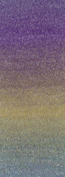 Amoroso Farbe 3 Voluminöses Kettengarn mit Tweed-Noppen aus Seide & Dégradé-Effekt Jade/Violett/Petrol/Camel