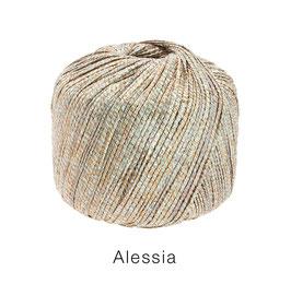 ALESSIA  Farbe 101, Silber/Gold/Kupfer/Grau, Baumwoll-Bändchengarn umwickelt mit feinen Glanzfäden