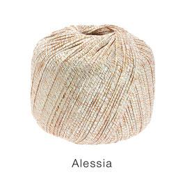 ALESSIA  Farbe 105, Kupfer/Ecru/Natur, Baumwoll-Bändchengarn umwickelt mit feinen Glanzfäden