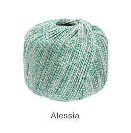 ALESSIA  Farbe 7, Smaragd/Türkis/Ecru, Baumwoll-Bändchengarn umwickelt mit feinen Glanzfäden