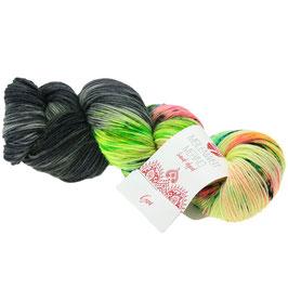 Meilenweit 100 Merino Hand-Dyed Farbe 305, Goa - Grau/Türkis/Rosa/Limettek, Sockengarn aus Merinowolle, waschmaschinenfest, handgefärbt