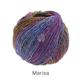 Marisa Farb-Nr. 4, Blau/Türkis/Pink/Orange/Rotviolett, Klassisch verzwirntes Streichgarn aus Merinowolle