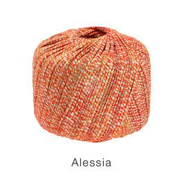 ALESSIA  Farbe 11, Rot/Orange/Ecru, Baumwoll-Bändchengarn umwickelt mit feinen Glanzfäden