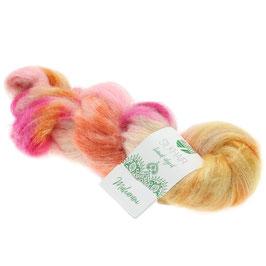 Silkhair Hand-Dyed  Farbe  605, Maharani - Orange/Ecru/Rosa/Fuchsia, Feines Lace-Garn aus Superkid Mohair mit Seide, handgefärbt