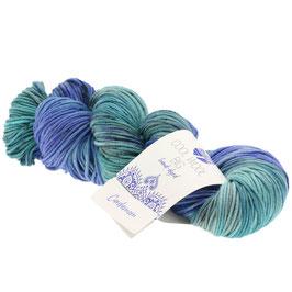 Cool Wool Big Hand-Dyed Farbe 202, Cardamom - Marine/Royal/Mint, Extrafeine Merinowolle waschmaschinenfest und filzfrei, handgefärbt