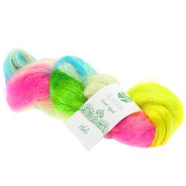 Silkhair Hand-Dyed  Farbe  601, Holi - Zitrusgelb/Petrol/Zyklam/Blassgrau, Feines Lace-Garn aus Superkid Mohair mit Seide, handgefärbt