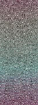Amoroso Farbe 6 Voluminöses Kettengarn mit Tweed-Noppen aus Seide & Dégradé-Effekt Jade/Fuchsia/Grüngrau/Beere