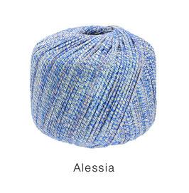 ALESSIA  Farbe 14, Blau/Silber/Natur, Baumwoll-Bändchengarn umwickelt mit feinen Glanzfäden