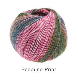 Ecopuno Print Farbe 202 Petrol/Pink/Orange/Dunkel-/Graugrün, Edles Garn aus Baumwolle mit Merino und Alpaka